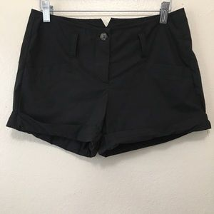 Theory Black Cuffed Mini Casual Shorts